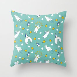 Penguins, pears, and bears Throw Pillow