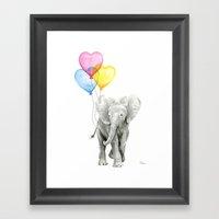Elephant Watercolor with Balloons Rainbow Hearts Baby Whimsical Animal Nursery Prints Framed Art Print