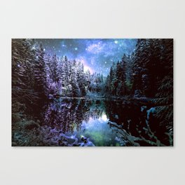 A Cold Winters Night : Violet Teal Green Winter Wonderland Canvas Print
