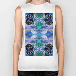 Brilliant Blue and Green Nautilus Fantasy Abstract Biker Tank
