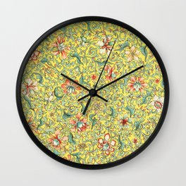 Yellow Floral Wall Clock