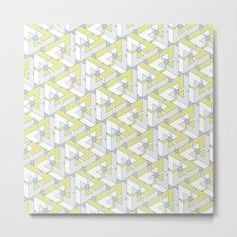 Triangle Optical Illusion Lemon Medium Metal Print