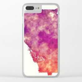 Buffalo New York city watercolor map in front of a white background Clear iPhone Case