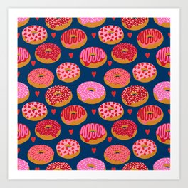 Pink and Red donuts hearts love valentines day cute gifts for foodie Art Print
