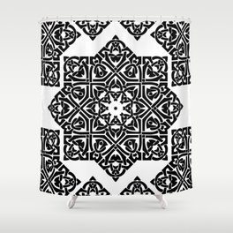 Celtic Knot Ornament Pattern Black and White Shower Curtain