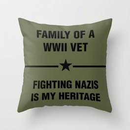 WWII Family Heritage Throw Pillow