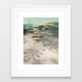 Sand and blue river Framed Art Print