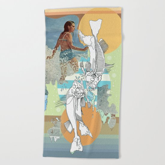 skeleton surf Beach Towel