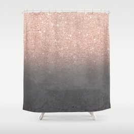 Rose gold glitter ombre grey cement concrete Shower Curtain