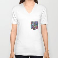 stained glass V-neck T-shirts featuring stained glass by spinL