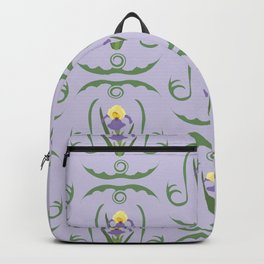 Iris Flowers Illustrated Pattern Purple Green Yellow Summer Garden Backpack