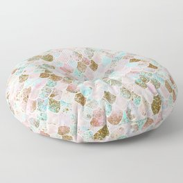 Wonky Watercolor Sea Foam Glitter Mermaid Scales Floor Pillow