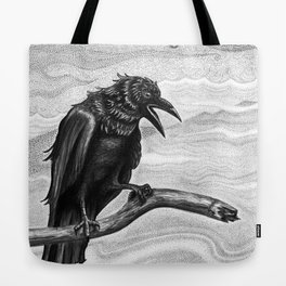 Raven in the Mist Tote Bag