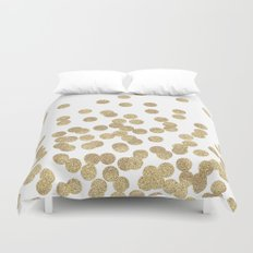 Gold Glitter Dots in scattered pattern Duvet Cover