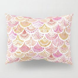 Sunset MERMAID DAYDREAMS Watercolor Scales Pillow Sham