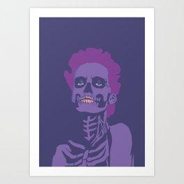 skeleton woman plum Art Print
