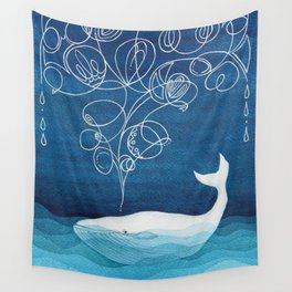 Happy whale, animals sea creature, teal blue watercolor Wall Tapestry