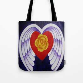 You Are My Angel With Heart Rose And Angel Wings By Annie Zeno Tote Bag