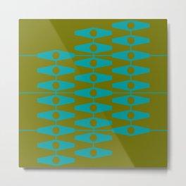 abstract eyes pattern aqua olive Metal Print
