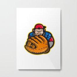 Chimpanzee Baseball Catcher Glove Retro Metal Print