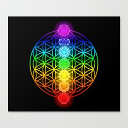 Flower of Life with Chakras Canvas Print