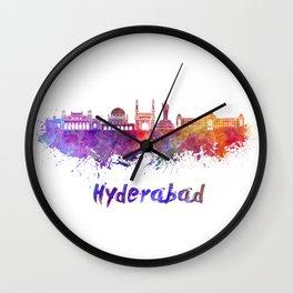 Hyderabad skyline in watercolor Wall Clock
