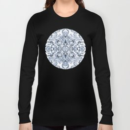 Indigo, Navy Blue and White Calligraphy Doodle Pattern Long Sleeve T-shirt