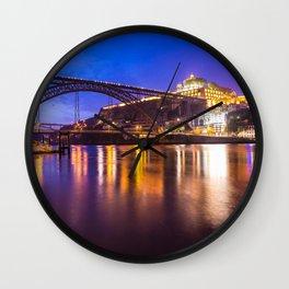 Porto at night Portugal Wall Clock