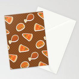 Pizza Burgers and Fried Chicken Picnic Time Stationery Cards