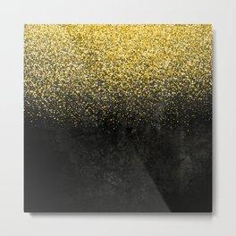 Gold glitter & Black grunge Metal Print