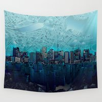 boston Wall Tapestries featuring boston city skyline by Bekim ART