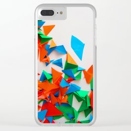 multi-colored leaflets which are cut out from paper, colourful background, collage Clear iPhone Case
