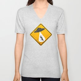 Caution: Abduction Zone Unisex V-Neck