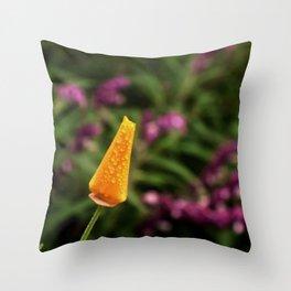 Dewy Poppy Bud Throw Pillow
