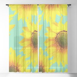 Sunflowers on a pastel green backgrond - #Society6 #buyart Sheer Curtain