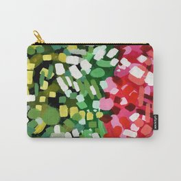 """Original Abstract Acrylic Painting by Ejaaz Haniff """"Spring Bloom"""" Colorful Organic Patterns Red Gree Carry-All Pouch"""