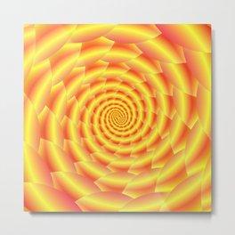 Yellow and Orange Snakeskin Spiral Metal Print