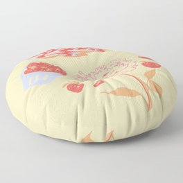 Strawberry Vintage Poster Floor Pillow