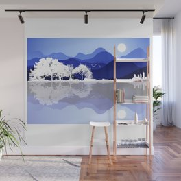 Acoustic Guitar Forest Nature Reflection Mountains Wall Mural