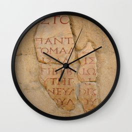 Inscription at the Library of Celsius, Ephesus, Turkey Wall Clock