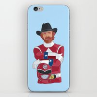 power ranger iPhone & iPod Skins featuring Walker Texas Power Ranger by Emily Niland