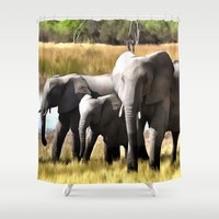 elephants Shower Curtains featuring Elephants by Regan's World