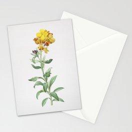 Vintage Yellow Wallflower Bloom Illustration Stationery Cards