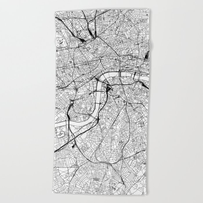 London White Map Beach Towel