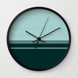 Bold Teal Green Stripes Wall Clock