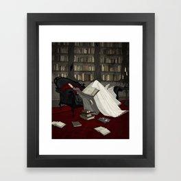 Asleep in the Library Framed Art Print