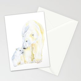 Mother and Baby Polar Bears Watercolor Stationery Cards