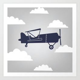 Biplane Navy/Gray Art Print