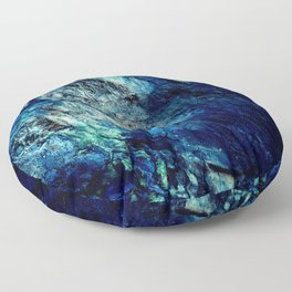 Mineral Texture Dark Teal Ocean Blue Floor Pillow