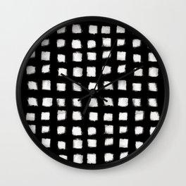 Polka Strokes - Off White on Black Wall Clock
